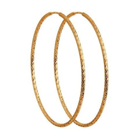 140213 - Серьги-конго из золота с алмазными гранями, диаметр Ø 80 мм