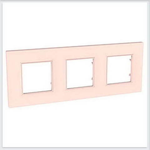 Рамка на 3 поста. Цвет Розовый жемчуг. Schneider Electric Unica Quadro. MGU4.706.37