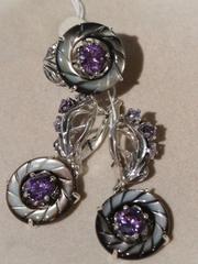 Лавр (кольцо + серьги из серебра)