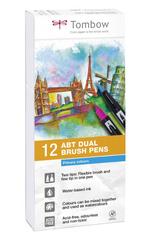Набор маркеров Tombow ABT Dual brush pens, основные цвета, 12 цветов.