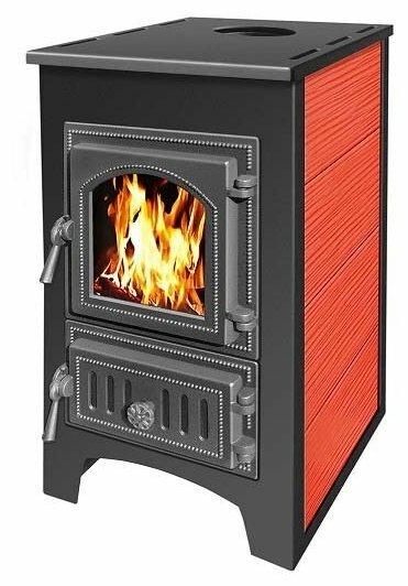 Печь - камин Везувий ПК - 01 красный с плитой 9 кВт дверка 270 т/о