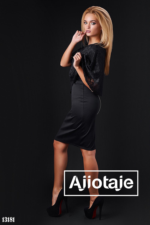 Платье черного цвета с молнией на спинке