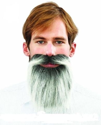 Борода с усами полуседая