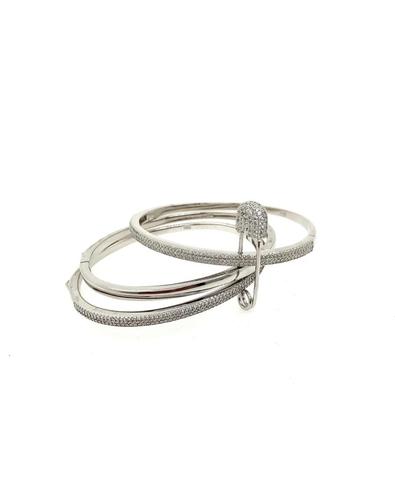 Тройной браслет из серебра жесткий с булавкой