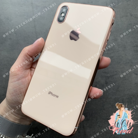 Чехол iPhone X/XS Glass Silicone Case Logo /rose/