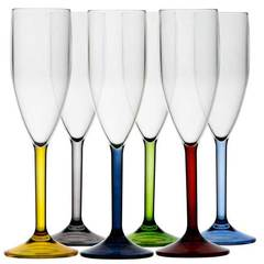 CHAMPAGNE FLUTE -COLOURED BASE, PARTY