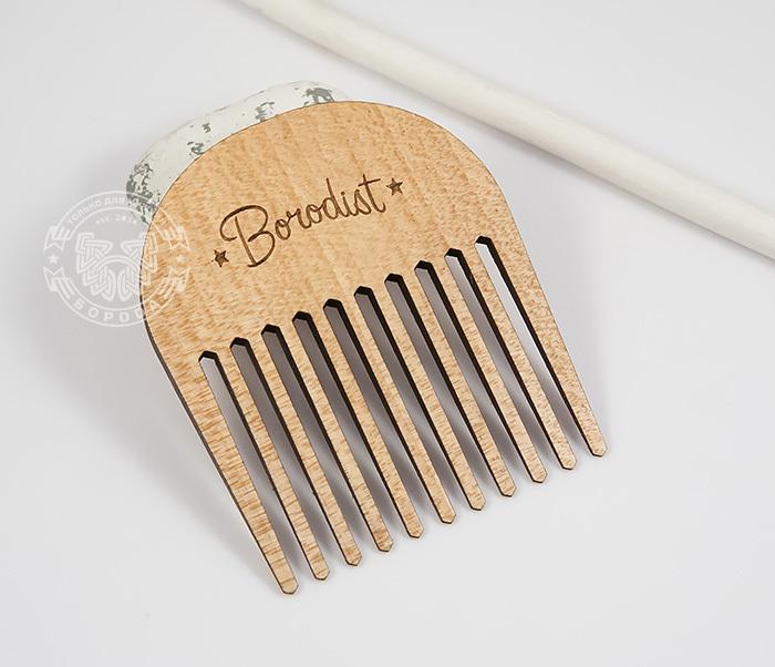 RAZ201 Фирменная гребень расческа для бороды из дерева, «Borodist»
