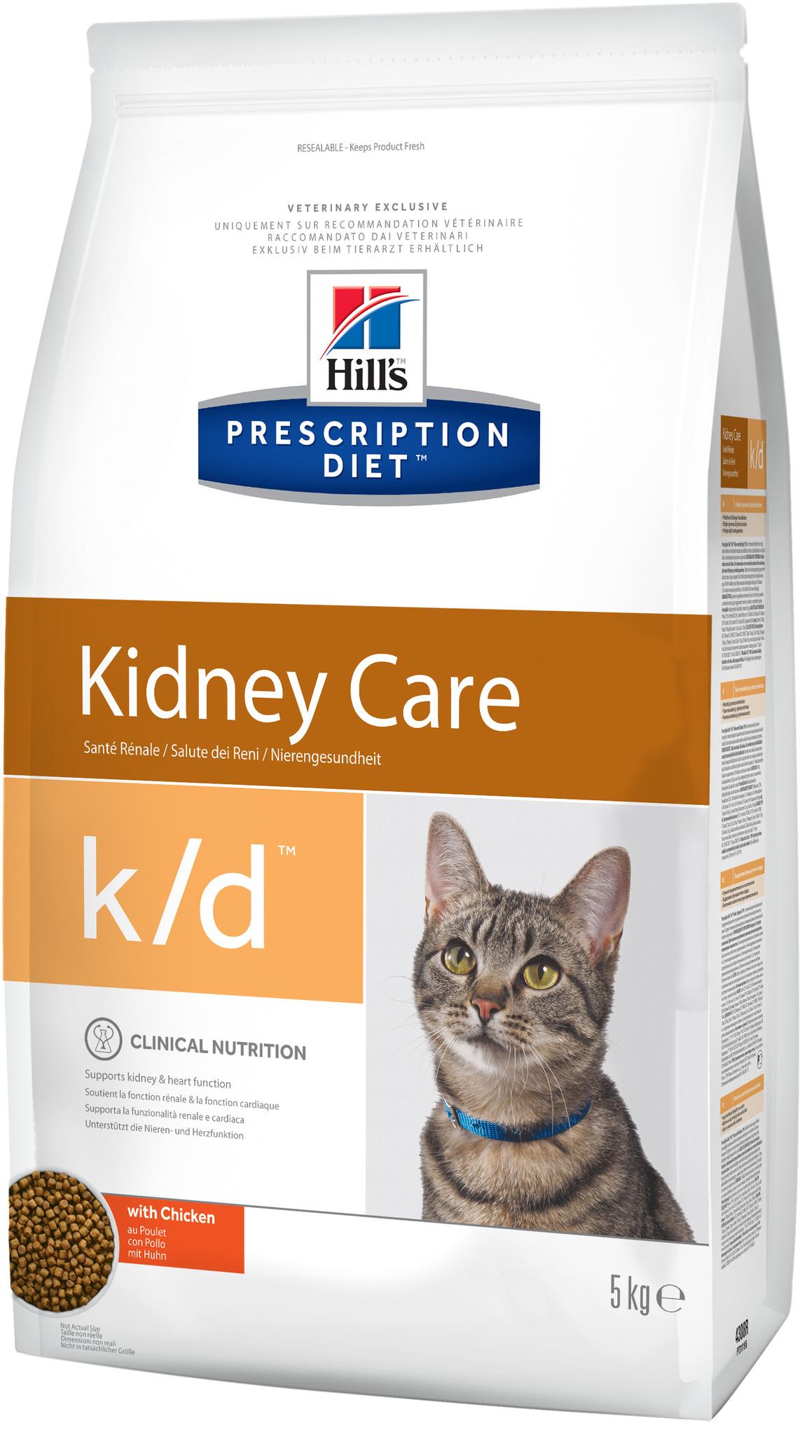 купить хиллс Hill's™ Prescription Diet™ Feline k/d™ Kidney Care with Chicken сухой корм для взрослых кошек, диетический рацион при заболеваниях почек, МКБ (оксалаты, ураты)