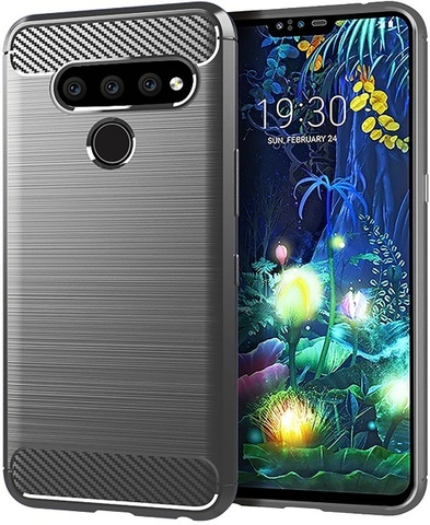 Чехол для LG V50 ThinQ цвет Gray (серый), серия Carbon от Caseport