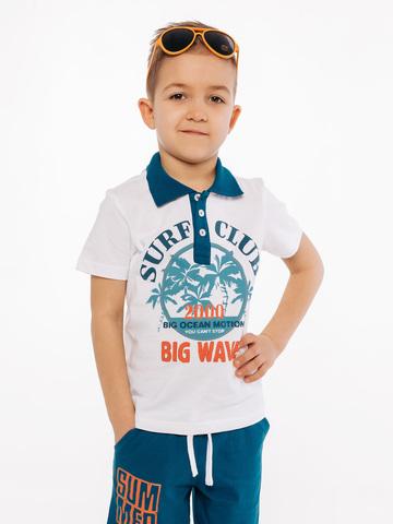 Белое поло с коротким рукавом для мальчика купить