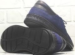 Красивые мокасины туфли мужские без каблука city casual Luciano Bellini 91268-S-321 Black Blue.