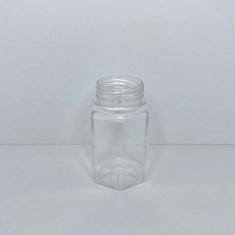 Бутылка 100 мл с широким горлом шестигранная ø 38 мм прозрачная