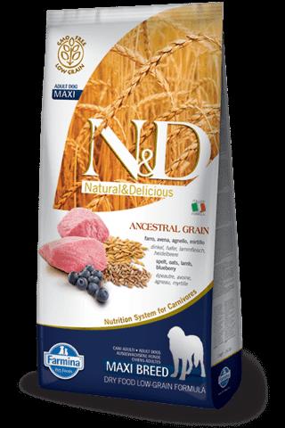 купить Farmina N&D Ancestral Grain Lamb & Blueberry Adult Maxi сухой низкозерновой корм для взрослых собак крупных пород