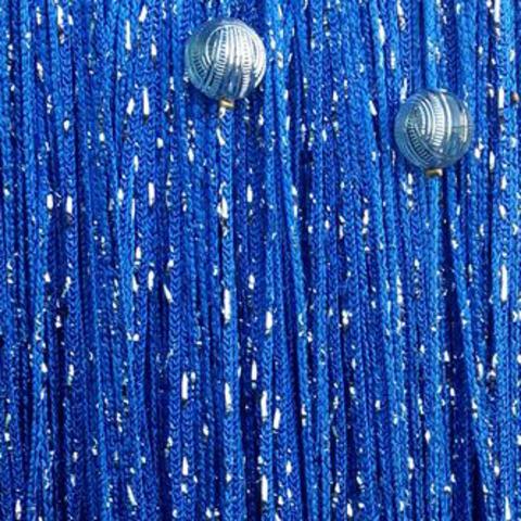 Кисея дождь с шарами - Синяя. Ш-300см., В-280см. Арт.208