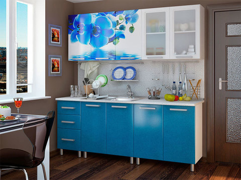 Кухня 2,0м Люкс Лазурь БТС Белый/фотопечать