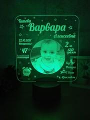 Ночник - Метрика для малыша с фото №2