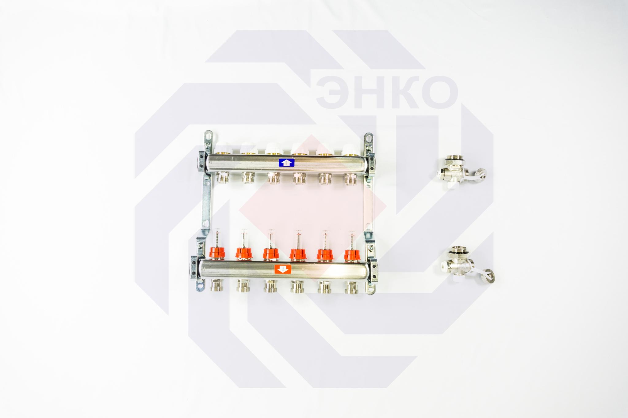 Комплект коллекторов с расходомерами ITAP 918C 6 контуров