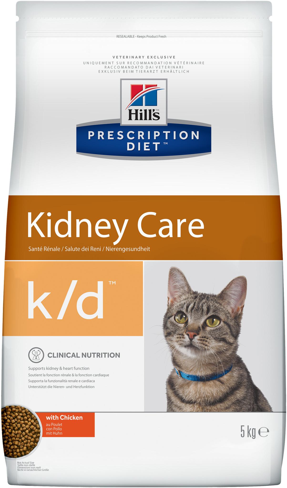 купить хиллс Hill's™ Prescription Diet™ Feline k/d™ Kidney Care with Chicken сухой корм для взрослых кошек, диетический рацион при заболеваниях почек, МКБ (оксалаты, ураты)  5 кг