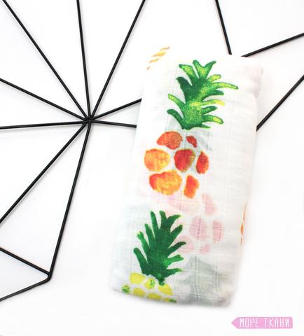 Муслиновая пеленка-ананасы(бамбук70%,115х115)