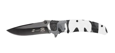 Нож Stinger, 84 мм, рукоять: алюминий, черн.-бел. камуфляж, картонная коробка
