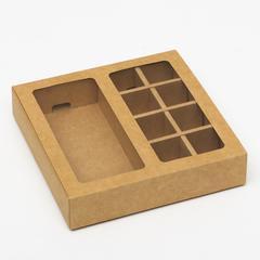 Коробка под 8 конфет + шоколад, с окном, крафт, 17 х 5 х 17,5 х 3,7 см
