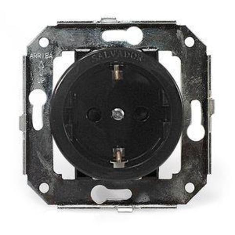 Розетка с заземлением и шторками для внутреннего монтажа. Цвет Чёрный. Salvador. CL12BL