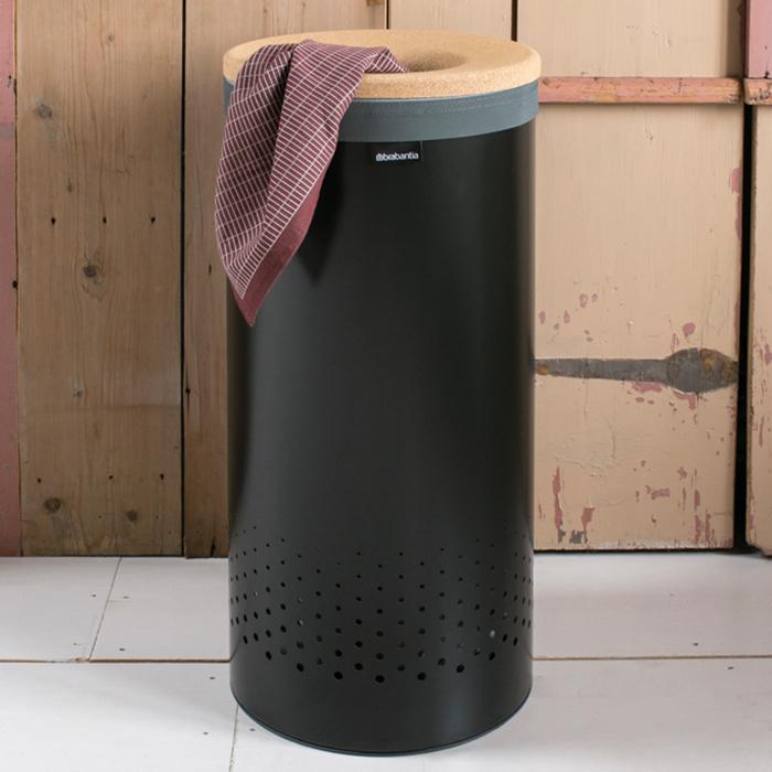 Бак для белья с пробковой крышкой (35 л), Черный матовый, арт. 120008 - фото 1