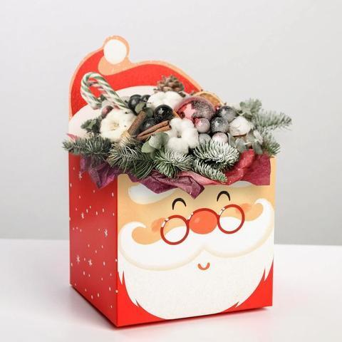 Коробка для мини-букетов «С новым годом», Дед Мороз, 12 х 17 х 10 см