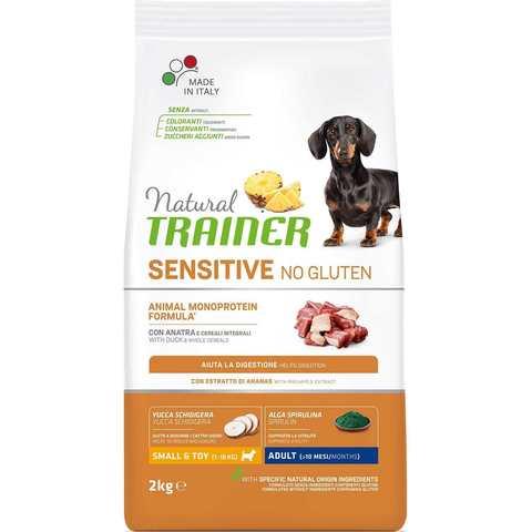 Сухой корм для собак TRAINER Natural No Gluten, при чувствительном пищеварении, утка, с цельными злаками (для мелких пород)