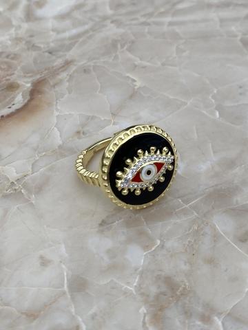Кольцо Око из позолоченного серебра с черной эмалью