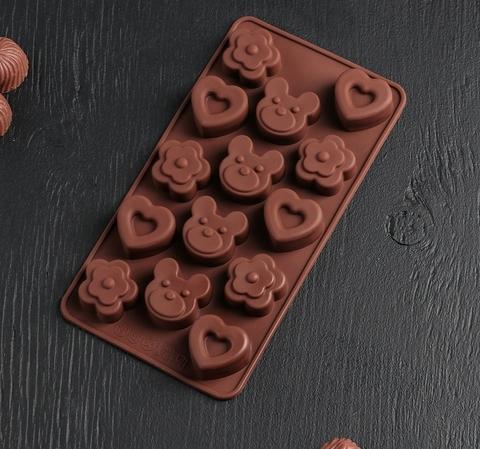 Форма для льда и шоколада «Мишка, цветок, сердце»