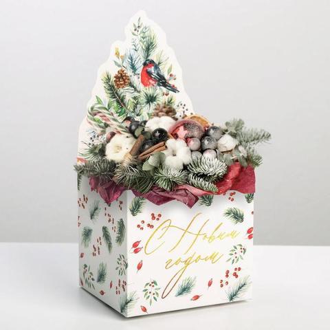 Коробка для мини-букетов «С новым годом», снегири, 12 х 17 х 10 см