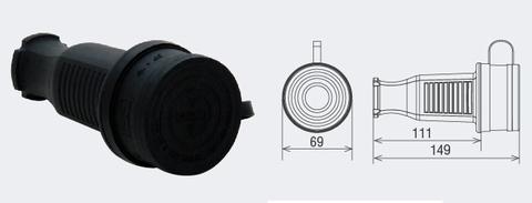 Разъем с заглушкой каучук 3Р+РЕ 32А 380В IP44 TDM