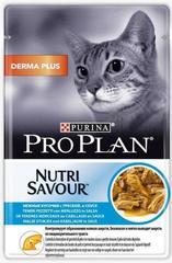 Пауч Purina Pro Plan DERMA PLUS, для взрослых кошек с чувствительной кожей,с треской