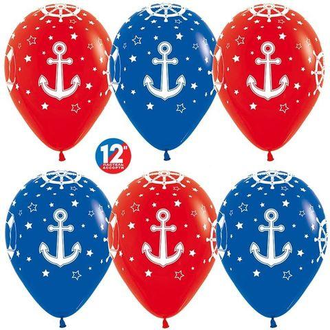 Шар (12''/30 см) Морской, Красный (015)/Синий (041), пастель, 5 ст.