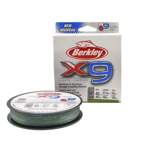 Плетеная леска Berkley X9 150 м. Темно-зеленая 0,25 мм. 18,2 кг.