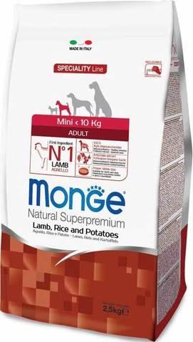 15 кг. MONGE Сухой корм для собак мелких пород с ягненком, рисом и картофелем Dog Speciality Adult Mini