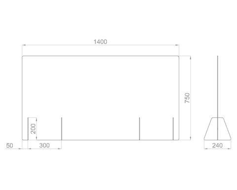 Настольный экран Ш.1400 мм В.600/750мм