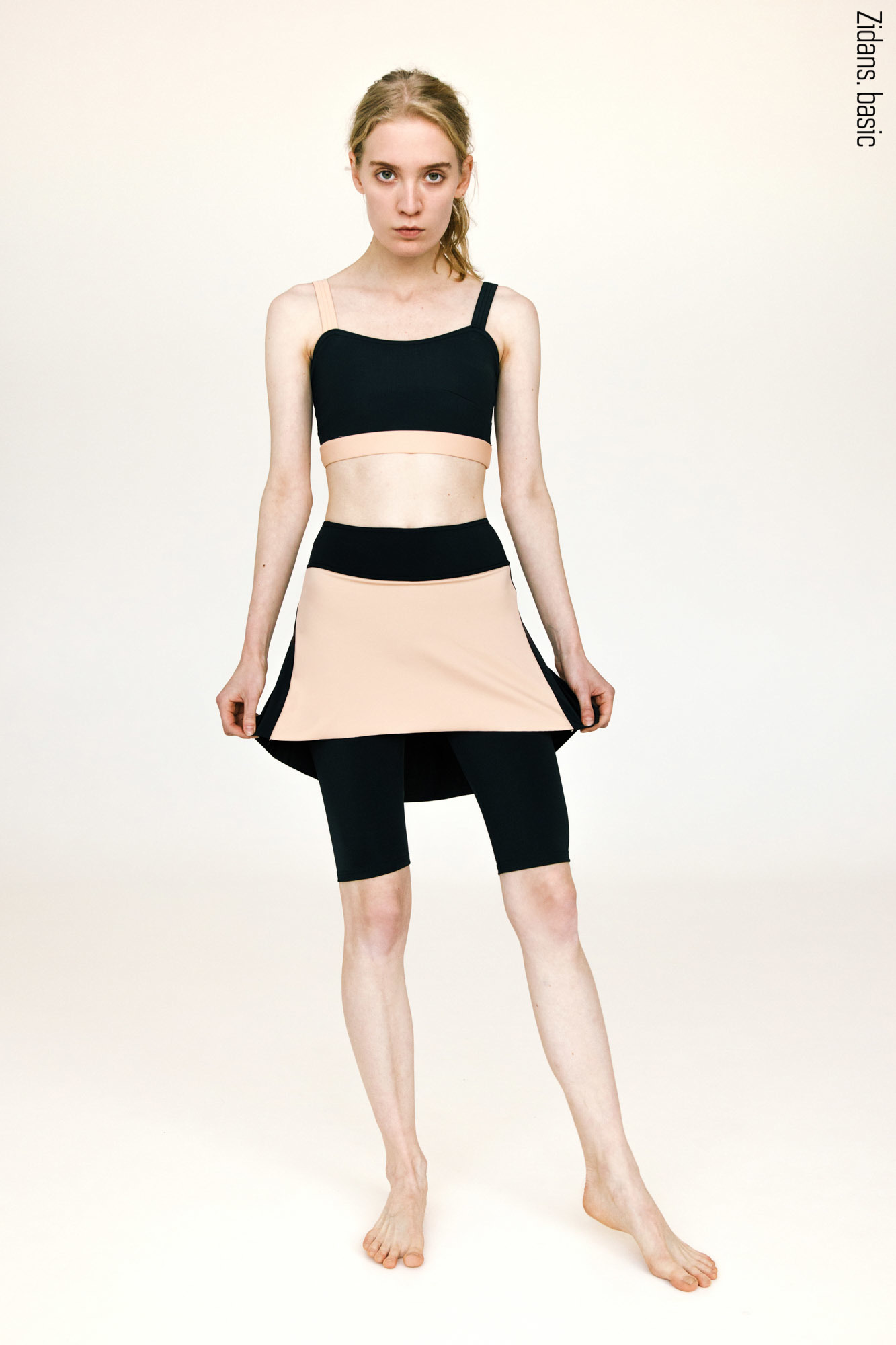 Knee length shorts with skirt stretch | black_beige