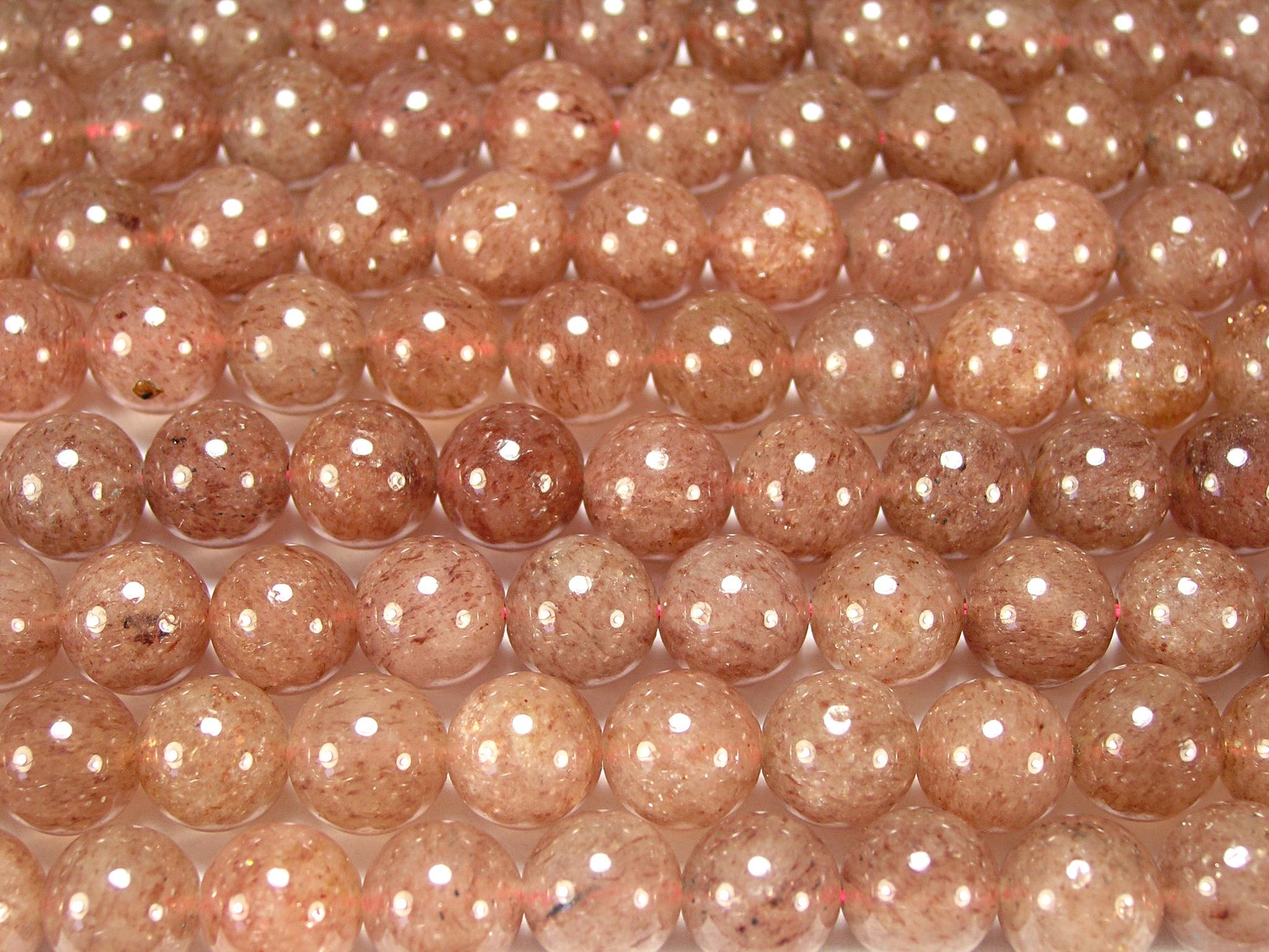 Нити бусин из кварца клубничного, шар гладкий 10мм (оптом)