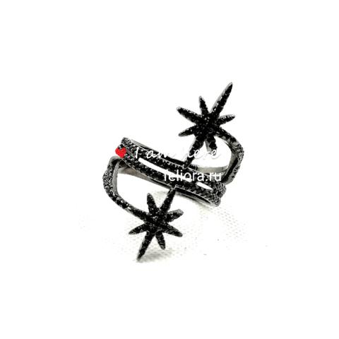 A15740- Кольцо METEORITES  noir из серебра с цирконами
