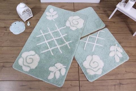 Комплект ковриков для ванной и туалета PASTEL, мятный