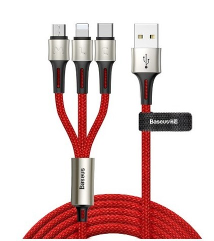 Кабель Baseus caring touch selection 1-in-3 USB cable Red