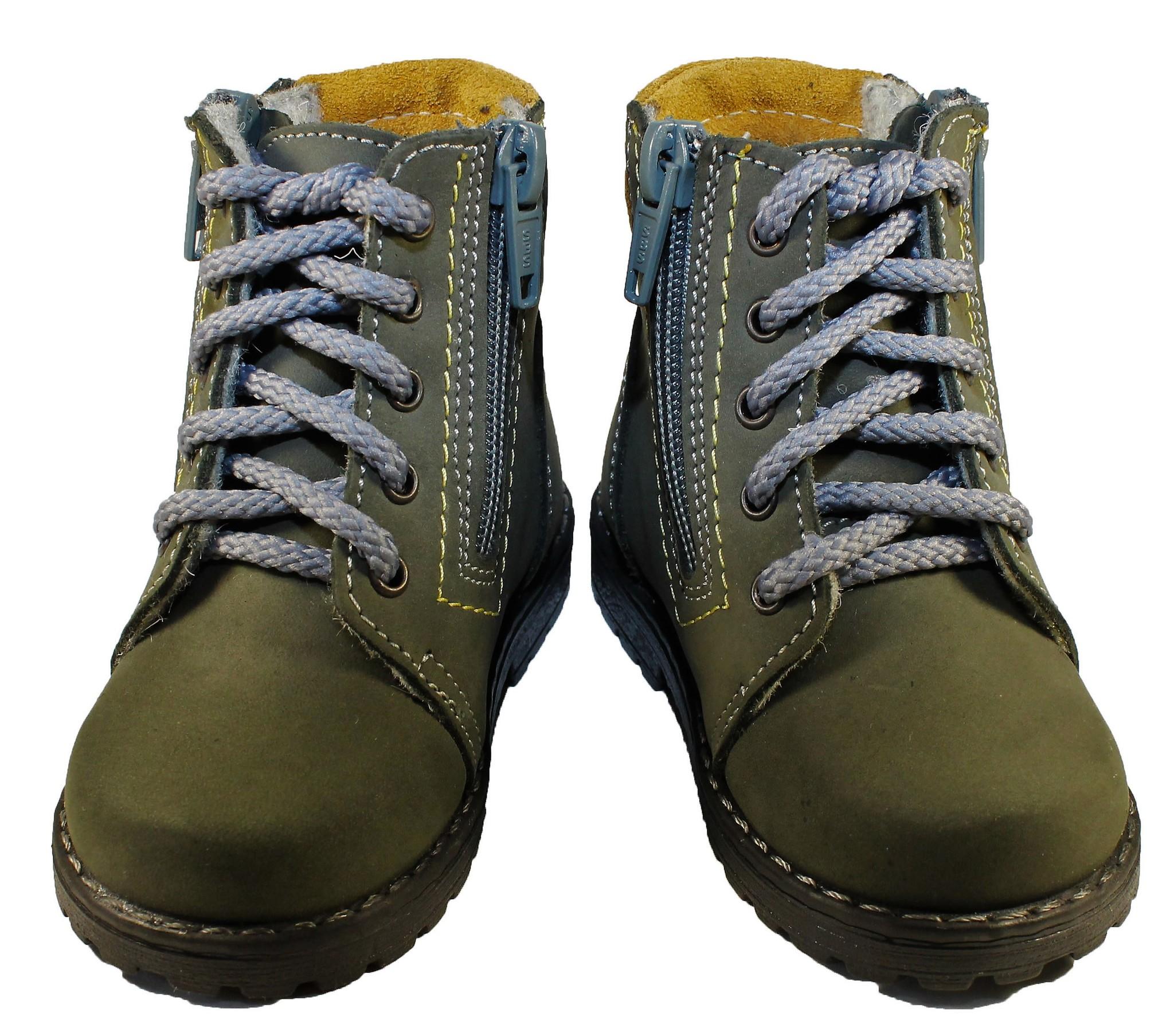 Демисезонные ботинки для мальчиков Котофей 152113-35 из натуральной кожи на молнии цвет серо-зеленый