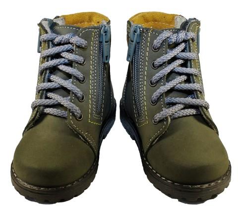 Демисезонные ботинки для мальчиков Котофей 152113-35 из натуральной кожи на молнии цвет серо-зеленый. Изображение 5 из 5.