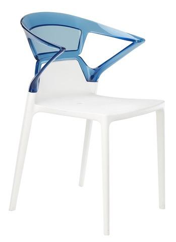 Полукресло Ego-K (Papatya). Цвет базы - белый, спинка прозрачная голубая