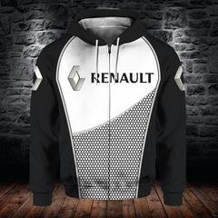 Толстовка утепленная с молнией 3D принт, Renault (3Д Теплые Худи с молнией Рено) 03