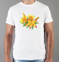 Футболка с принтом Цветы (Лилии) белая 007