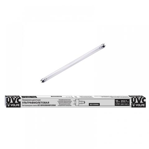 EFL-T8-15/UVCB/G13/CU/V Лампа ультрафиолетовая бактерицидная. Спектр UVC 253,7нм. Картон. ТМ Volpe