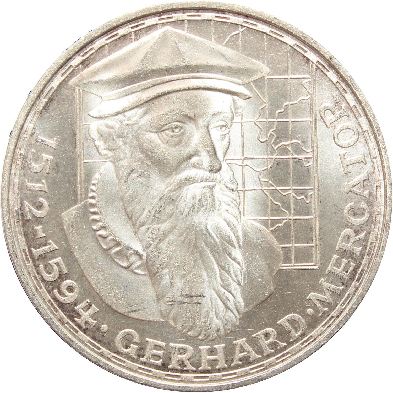 5 марок 1969 (F) Германия (375 лет со дня смерти Герхарда Меркатора) AU серебро
